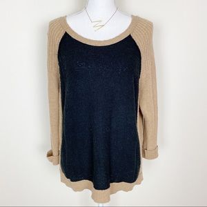 Free people tan and black color block sweater